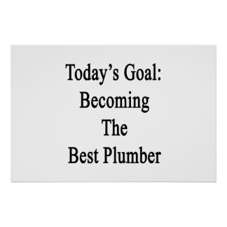 Today's Goal Becoming The Best Plumber Poster