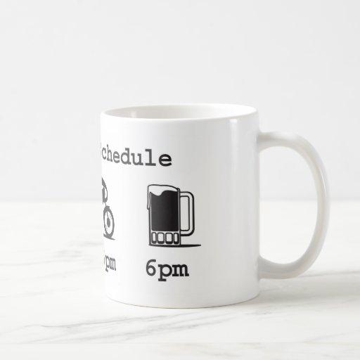 Today's schedule mug - coffee, 2wheels, & beer