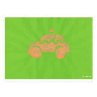 Toddler car art postcard