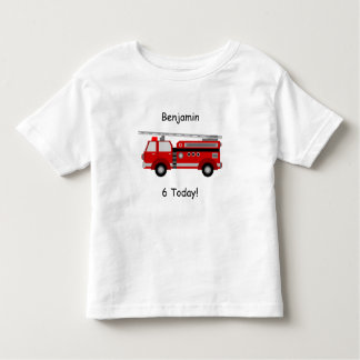"""Toddler Fire Truck T-Shirt with Name & """"6 Today!"""""""
