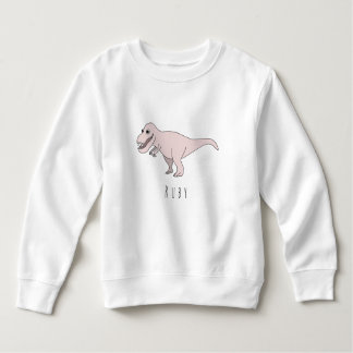 Toddler Girl Pink Doodle T-Rex Dinosaur with Name Sweatshirt