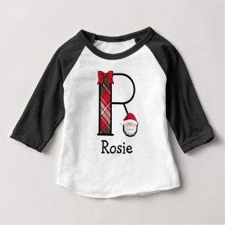 Toddler Girl Santa Christmas 3/4 length monogram R Baby T-Shirt