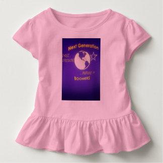Toddler Gir's Pink Ruffler Tee with Purple Logo