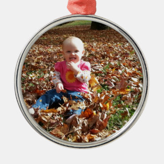 Toddler in the fall Leaves Silver-Colored Round Decoration