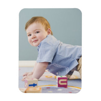 Toddler playing with blocks rectangle magnets