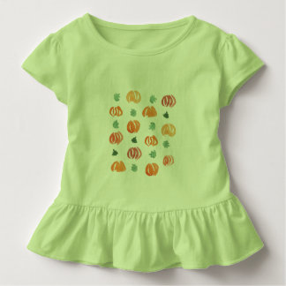 Toddler ruffle T-shirt with pumpkins and leaves