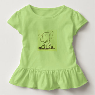 TODDLER RUFFLE TEE - CUTE BABY ELEPHANT