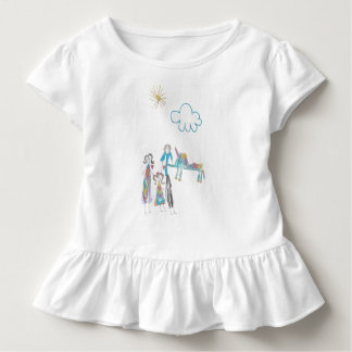 Toddler Ruffle Tee with kid's picture of family
