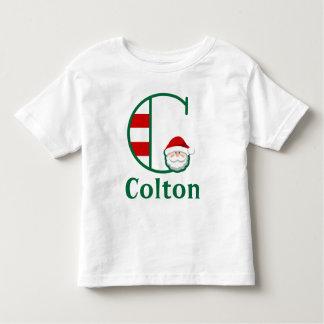 Toddler Striped Santa Christmas Shirt monogram C