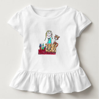 TODDLER TEE - GIRL AND CAT SITTING ON CHIMNEY
