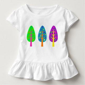 Toddler Three Colorful trees Ruffle Tee
