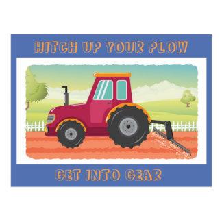 Toddler Tractor Birthday Invititation Postcard
