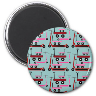 Toddler Transportation Red Pink Scooters Wagons 6 Cm Round Magnet