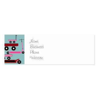 Toddler Transportation Red Pink Scooters Wagons Double-Sided Mini Business Cards (Pack Of 20)