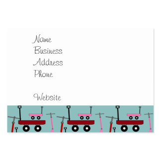 Toddler Transportation Red Pink Scooters Wagons Large Business Cards (Pack Of 100)