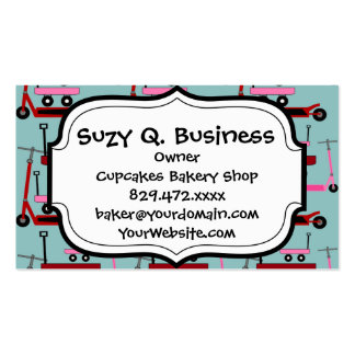 Toddler Transportation Red Pink Scooters Wagons Business Card Template