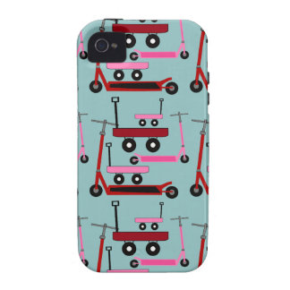 Toddler Transportation Red Pink Scooters Wagons iPhone 4 Case