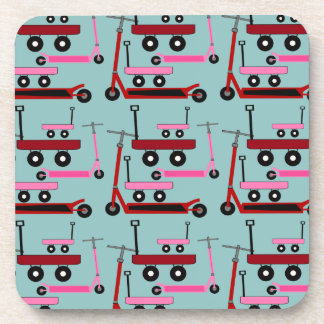Toddler Transportation Red Pink Scooters Wagons Drink Coaster