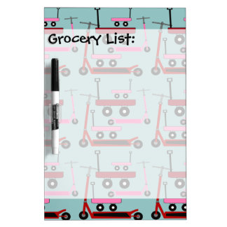 Toddler Transportation Red Pink Scooters Wagons Dry Erase Whiteboards