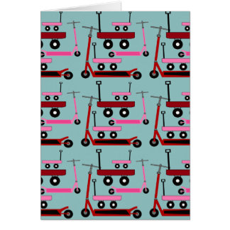 Toddler Transportation Red Pink Scooters Wagons Greeting Card