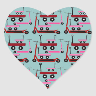 Toddler Transportation Red Pink Scooters Wagons Heart Sticker