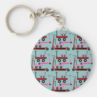 Toddler Transportation Red Pink Scooters Wagons Keychain
