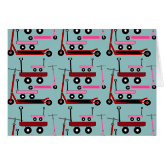 Toddler Transportation Red Pink Scooters Wagons Note Card