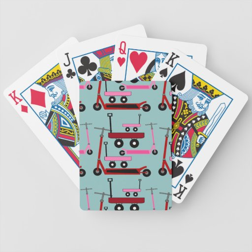 Toddler Transportation Red Pink Scooters Wagons Playing Cards