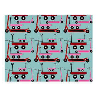 Toddler Transportation Red Pink Scooters Wagons Postcard