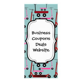 Toddler Transportation Red Pink Scooters Wagons Rack Card Template