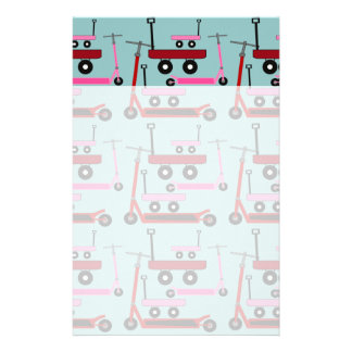 Toddler Transportation Red Pink Scooters Wagons Stationery Design
