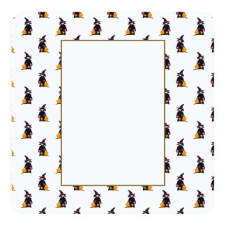 Toddler Witch Trick or Treat Repeat Pattern 13 Cm X 13 Cm Square Invitation Card
