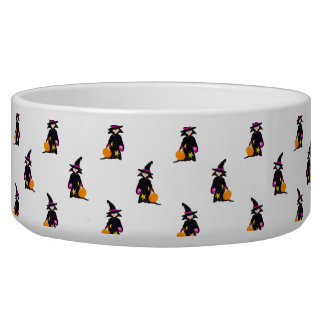 Toddler Witch Trick or Treat Repeat Pattern Dog Food Bowls