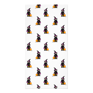 Toddler Witch Trick or Treat Repeat Pattern Customized Photo Card
