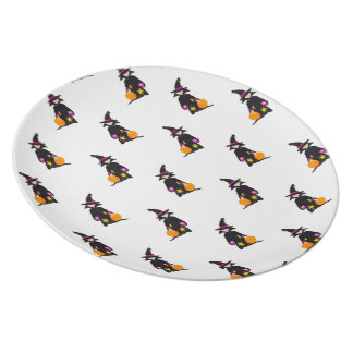 Toddler Witch Trick or Treat Repeat Pattern Dinner Plate