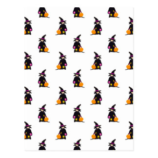 Toddler Witch Trick or Treat Repeat Pattern Postcard