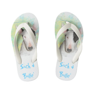 Toddlers Blue Butterfly Bull Terrier Flip Flops Thongs