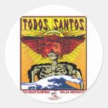 TODOS SANTOS BAJA MEXICO SURFING ROUND STICKER