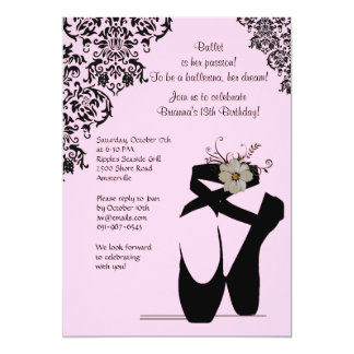 "Toe Shoes With Black Lace Invitation 5"" X 7"" Invitation Card"