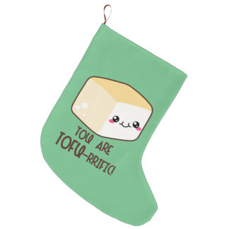 Tofu-rrific Emoji Large Christmas Stocking