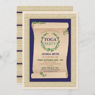 Toga Party Ancient Roman Birthday Ivy Scroll Invitation