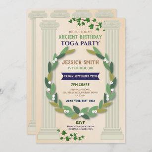 Toga Party Birthday Ivy Scroll Ancient Roman Invitation