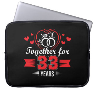 Together 33rd Wedding Anniversary Shirt Laptop Sleeve