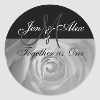 Together as One Names with Rose Photo Classic Round Sticker