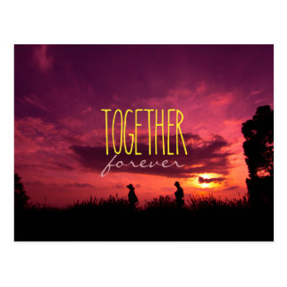 Together Forever Couple on Lavender Field Sunset Postcard