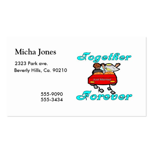 Together Forever Newlyweds Business Card Template