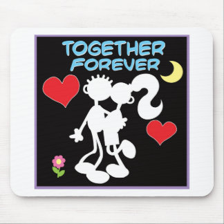 Together Forever-valentine couple stick figures Mouse Pad