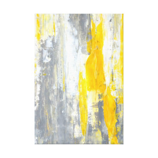 'Together' Grey and Yellow Abstract Art Canvas Print