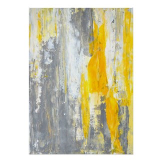 'Together' Grey and Yellow Abstract Art Poster