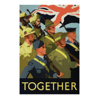 Together vintage world war 2 poster Great Britain